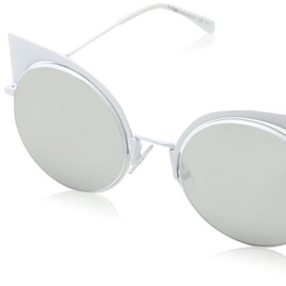 379d4853 FENDI EYESHINE White with Grey Lenses Sunglasses NWT
